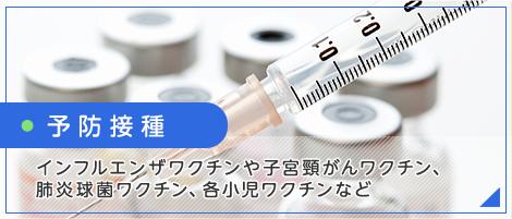 予防接種 インフルエンザワクチンや子宮頸がんワクチン、 肺炎球菌ワクチン、各小児ワクチンなど